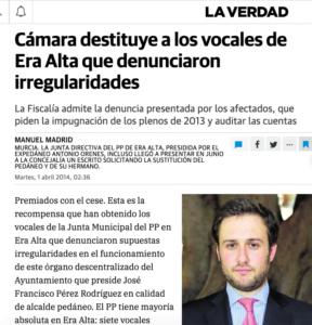 El ex alcalde pedáneo del PP de Murcia