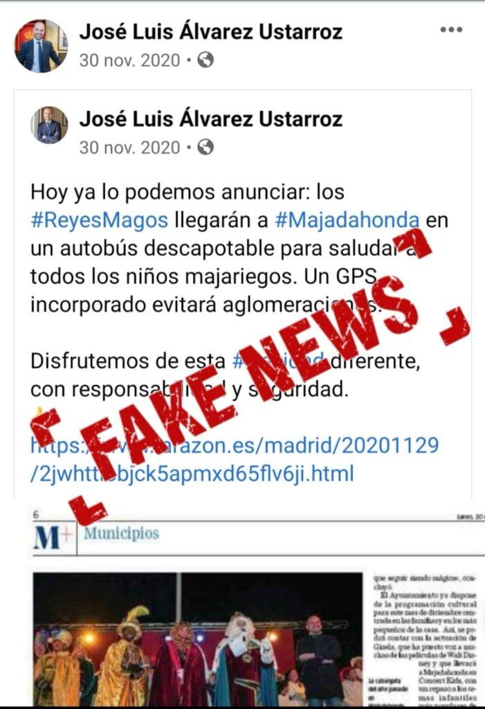 """Regalo de Reyes Magos al alcalde de Majadahonda: """"carbón"""" por difundir una """"fake news"""" y no rectificarla"""