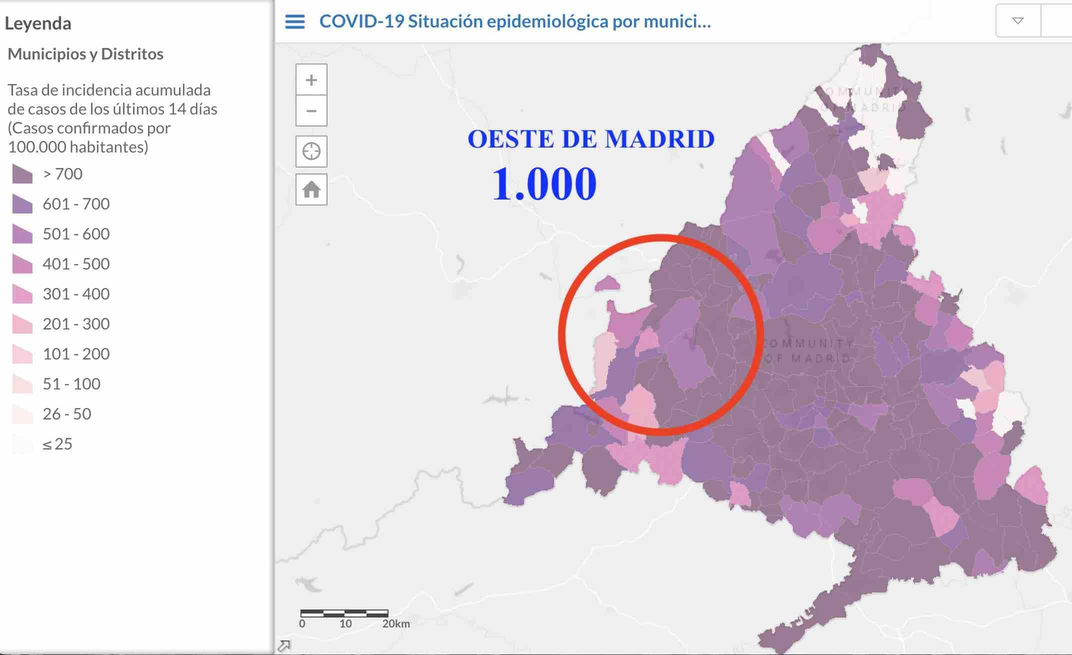 ¡Saltan las alarmas!: el Covid se dispara por encima de 1.000 en el Oeste de Madrid
