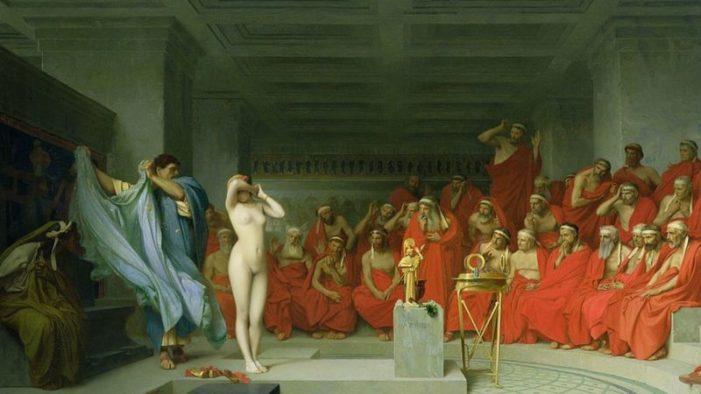 La hetaira Friné y el famoso cuadro del pintor francés Gérôme