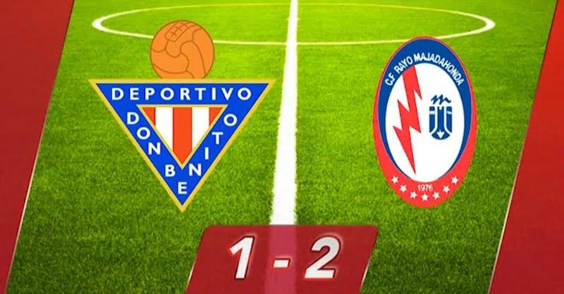 Rayo Majadahonda gana sobre la bocina en Don Benito (Badajoz) un partido que le da alas para el ascenso (1-2)