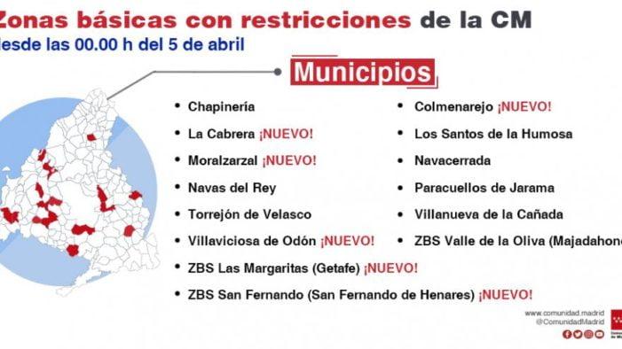 Comunidad de Madrid confina este lunes hasta el 12 de abril Majadahonda (Valle de la Oliva), Villaviciosa, Moralzarzal, La Cañada y Chapinería